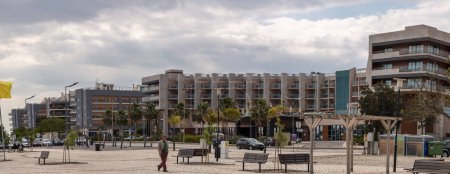 Panorama view of a big hotel on Olhao city, Portugal.