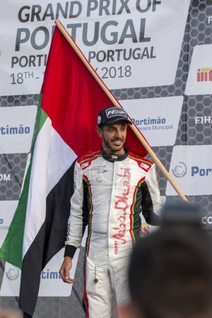 PORTIMAO, PORTUGAL : 20th MAY, 2018 - Mohamed Al Mehairbi 3rd place winner Portuguese Grand Prix - F4-S Powerboat racing event of the 2018 edition held on Portimao Arade river, Portugal.