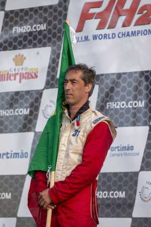PORTIMAO, PORTUGAL : 20th MAY, 2018 - Pedro Fortuna 1st place winner Portuguese Grand Prix - F4-S Powerboat racing event of the 2018 edition held on Portimao Arade river, Portugal.