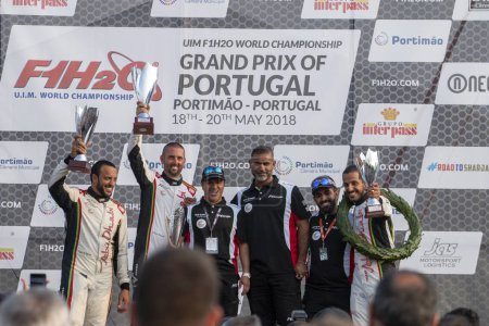 PORTIMAO, PORTUGAL : 20th MAY, 2018 - Pole position winners of the Portuguese Grand Prix - F1 Powerboat racing event of the 2018 edition held on Portimao Arade river, Portugal.