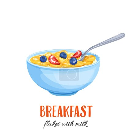 Flakes with milk and berries.