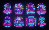 Big Collection Video Games Logos Vector Conceptual Neon Signs Video Games Emblems Design Template modern trend design bright vector illustration promotional games light banner Vector