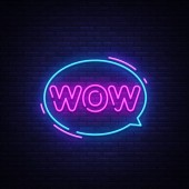 Wow Neon Text Vector Wow pop art neon sign design template modern trend design night neon signboard night bright advertising light banner light art Vector illustration