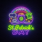 Happy St Patricks Day neon sign vector Happy Saint Patricks Day Design template with ghost and web for banner poster greeting card party invitation light banner Isolated illustration