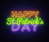 Happy St Patricks Day neon text vector design template Happy Saint Patricks Day neon logo light banner design element colorful modern design trend night bright advertising bright sign Vector