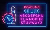Bowling neon sign vector Neon Frame Bowling Club Design template light banner night signboard nightly bright advertising light inscription Vector illustration Editing text neon sign