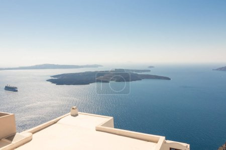view of Santorini caldera in Greece from coast