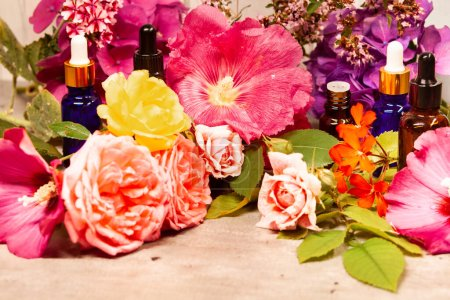 Photo for Flowers and bottles of essential oils for aromatherapy - Royalty Free Image