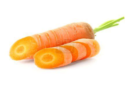 Sliced carrot on white background...