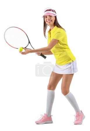 Beautiful tennis player on white background...