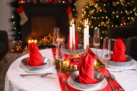 Photo for Beautiful table setting with Christmas decor in living room - Royalty Free Image