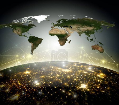 Photo pour Terre depuis l'espace. Meilleur Concept d'Internet des affaires de concepts série. Éléments de cette image fournie par la Nasa. illustration 3D. Symbole de voyage, internet, technologie et communication - image libre de droit