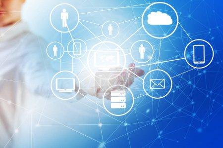 5g k internet mobile drahtlose Konzept. Landkarte aus den Händen. bestes Internet-Konzept des globalen Geschäfts aus Konzeptserien. Symbol für Reisen, Internet, Technologie und Kommunikation