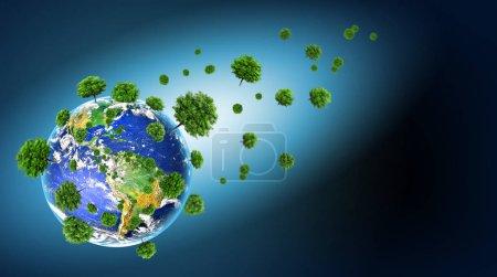 Photo pour Concept écologique de l'environnement à la culture des arbres. Planète terre. Monde physique de la terre. Éléments de cette image fournie par la Nasa. illustration 3D. Terre de la Nasa. - image libre de droit