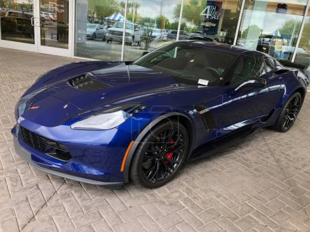 Chevrolet Corvette ZR1 on display at a local car dealership located in Chandler Arizona which is located in the Southwest part of the United States. The 1ZR is the ZR1 for Corvette purists who want the lightest car available.