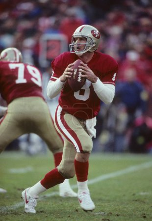 Steve Young Quarterback for the San Francisco 49ers in game action during the regular season game. Steven Young was a NFL quarterback who played  in the National Football League and is best known for his 13 seasons with the San Francisco 49ers