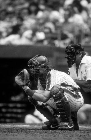 Gary Carter catcher for the New York Mets during a regular season baseball game. Gary  Carter was an professional baseball catcher who played for 19 seasons of professional baseball.