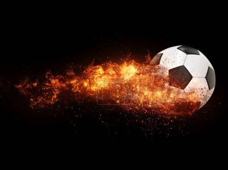 Photo pour Balle de football en feu - image libre de droit