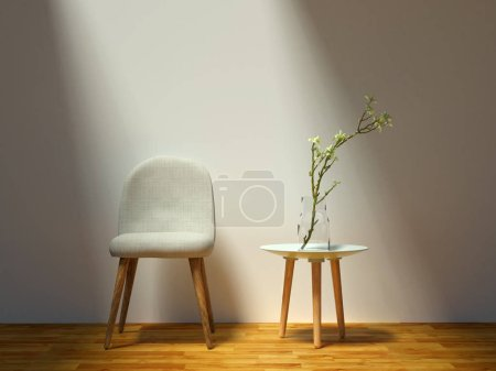 Photo for Soft wooden chair with table by its side - living room - Royalty Free Image