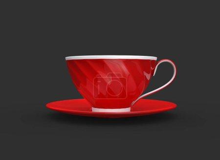 Photo pour Tasse de thé rouge et blanche - vue latérale - image libre de droit