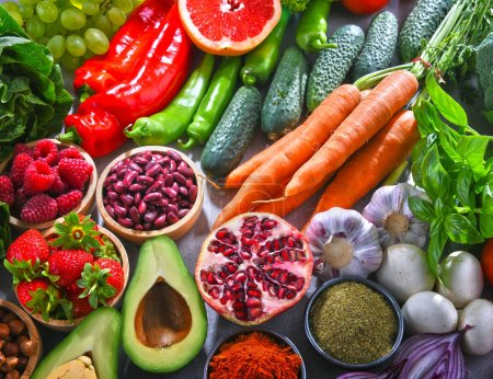 Photo for Composition with fresh vegetarian grocery products. - Royalty Free Image