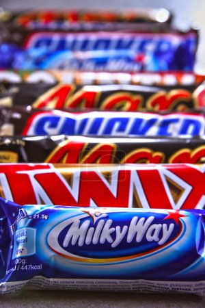 POZNAN, POL - JUN 19, 2018: Assorted confectionery products of Mars company, including Snickers, Twix, Milky Way, Bounty and Mars