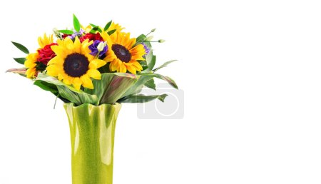 Composition with bouquet of flowers including sunflowers and roses isolated on white