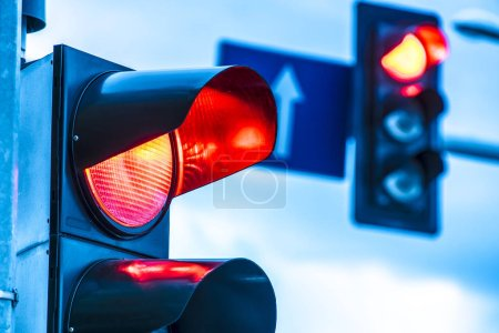 Traffic lights over urban intersection....