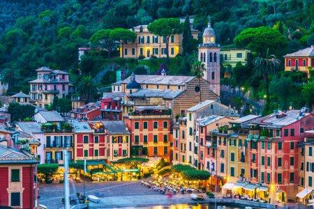 Picturesque fishing village and holiday resort Portofino, in the Metropolitan City of Genoa on the Italian Riviera in Liguria, Italy