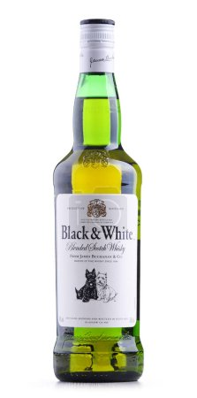 POZNAN, POL - SEP 27, 2018: Bottle of Black and White, a blended Scotch whisky, manufactured by Diageo, originally produced by James Buchanan in London