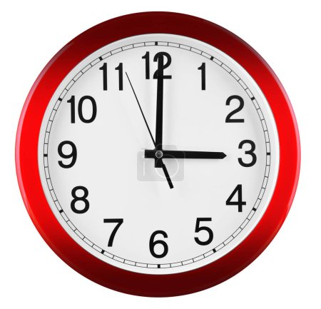 Photo for Wall clock isolated on white background. Three oclock. - Royalty Free Image