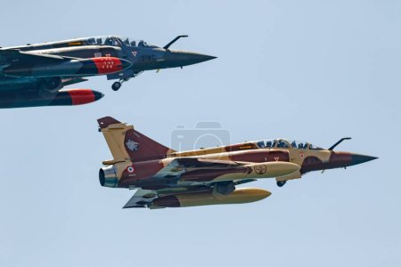 TORRE DEL MAR, MALAGA, SPAIN-JUL 30: Aircraft Mirage 2000 of the Couteau Delta Tactical Display  taking part in a exhibition on the 2nd airshow of Torre del Mar on July 30, 2017, in Torre del Mar, Malaga, Spain