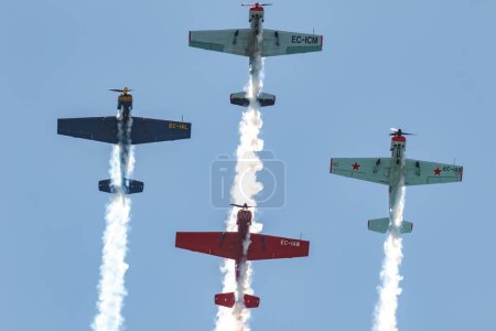 TORRE DEL MAR, MALAGA, SPAIN-JUL 29: Aircraft of the Acrobatic Patrol  Jacob 52  taking part in a exhibition on the 3rd airshow of Torre del Mar on July 29, 2018, in Torre del Mar, Malaga, Spain