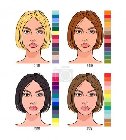 Illustration pour Saisonnière Color type of female appearance with a palettes of colors suitable for them. Été, Automne, Hiver, Printemps - image libre de droit
