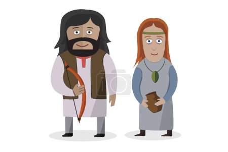 Indo-Europeans. People in national dress. National clothes. Vector illustration.