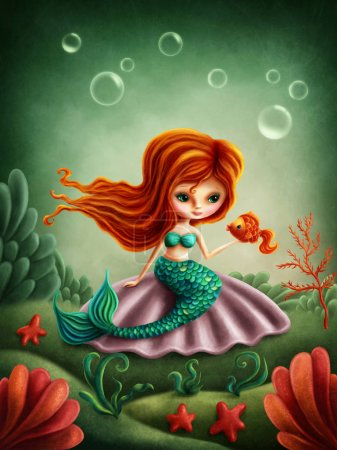 Photo for Beautiful little mermaid girl with a fish - Royalty Free Image