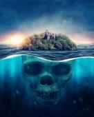 Fantasy Spooky Island.  Underwater scull