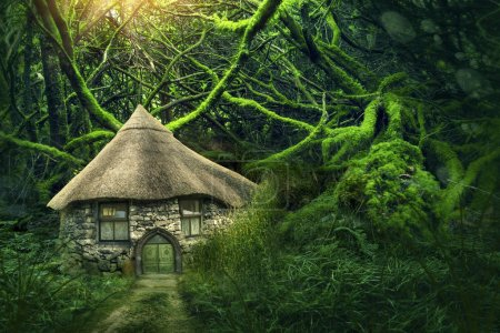 Photo pour Forêt de féerie avec une petite maison - image libre de droit