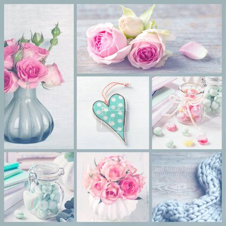 Photo for Collage with pastel colored photos of flowers and sweets - Royalty Free Image