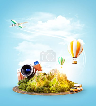 Photo for Unusual 3d illustration of a mount with the road around and air balloons above. Travel and vacation concept. - Royalty Free Image