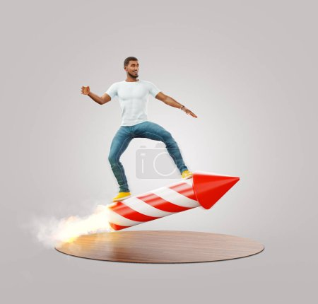 Photo pour Jeune homme sur une fusée de feu d'artifice. Concept de développement de start-up. Événements et célébrations. Illustration 3D inhabituelle - image libre de droit