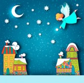 Winter snowy city landscape Christmas background with fairy tale houses and angel with stars and moon in the sky at holiday eve Vector illustratio