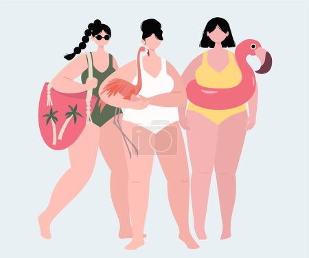 Illustration for Girls with a flamingo pool float, flamingo bird and a beach bag go to the beach. Body positive vector illustration. Stylish template for cards, posters and banners. - Royalty Free Image