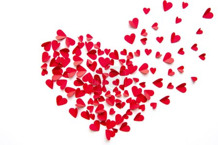 top view of red hearts assembling in one big heart isolated on white