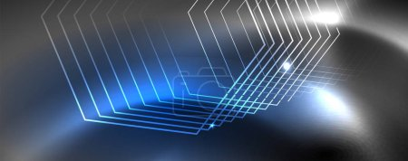 Photo for Shiny neon techno template. Neon lines background, 80s style laser rays. Vector - Royalty Free Image