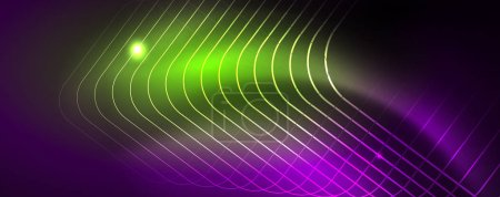 Photo for Shiny glowing design background, neon style lines, technology concept - Royalty Free Image
