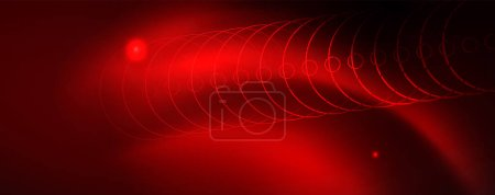 Photo for Neon glowing techno lines, hi-tech futuristic abstract background template - Royalty Free Image