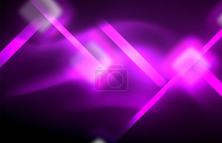 Photo for Neon square and line lights on dark background with blurred effects, vector modern design - Royalty Free Image