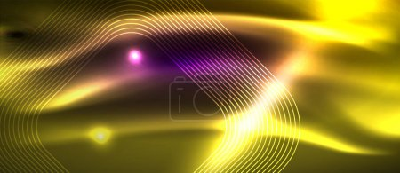 Photo for Glowing shiny neon squares abstract background, techno modern template, vector - Royalty Free Image