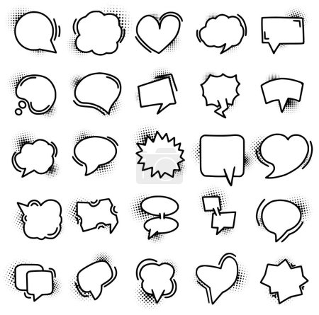 Illustration for Set of hand drawn speech bubble icons with halftone textures. Communication, chat, message concepts isolated on white - Royalty Free Image
